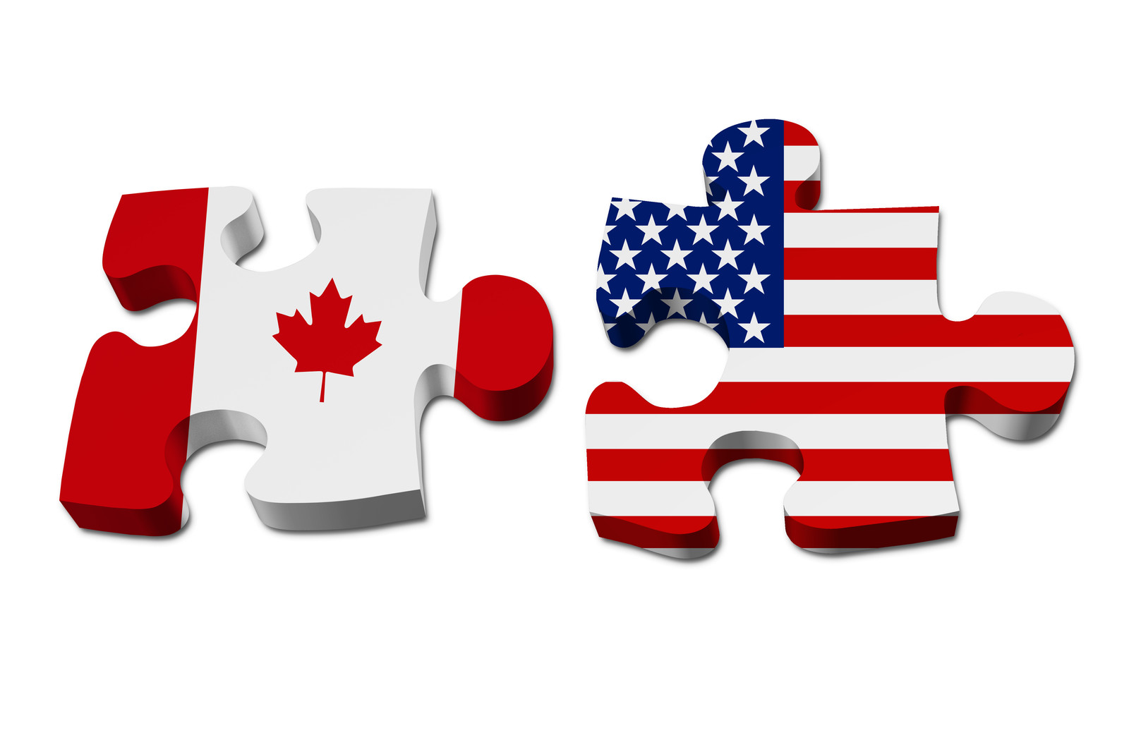 Canada and United states flag in puzzle piece shapes